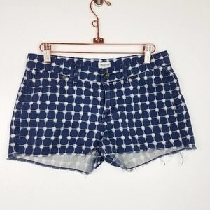 Madewell   Blue & White Patterned Cut Off Shorts